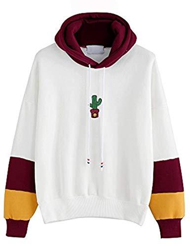 (Xmiral Damen Hoodies Baumwolle Mode Einfarbig Kleidung Pullover Mantel Hoody Sweatshirt (M,Rot))