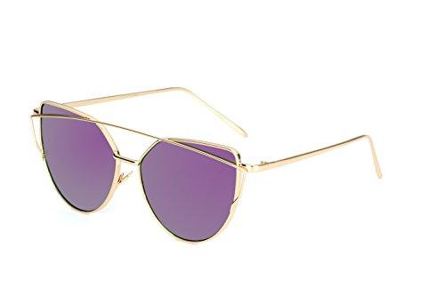 Unisex Sonnenbrille Katzenauge Moderne Brille in verschiedene Farbe (A Gold Purpur)