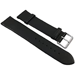 18mm Soft calf leather watch strap band in black with buckle in silver
