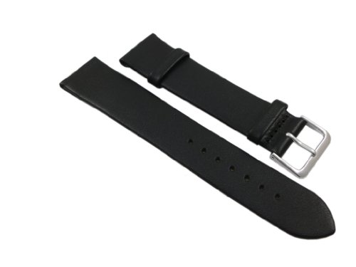 18mm Suave Cuero de Becerro Pulsera de Reloj en Negro con Hebilla en Plata