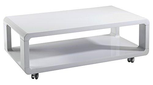 CAVADORE Couchtisch Leona/Moderner, Niedriger Holztisch mit Rollen und Ablage/Hochglanz Weiß/105 x 58 x 38 cm (L x B x H) (Kunststoff Rechteckiger Couchtisch)