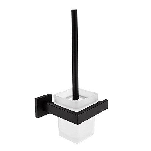 Homovater Badserie - WC-Garnitur, WC-Bürste, Toilettenbürste aus satiniertem Glas und robustem Schwarz matt - zur Wandmontage