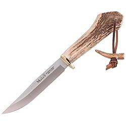 Electropolis Cuchillo de Caza Muela Gredos GRED-13H, puño de asta de Ciervo y latón, Hoja MOVA de 13 cm + Tarjeta Multiusos de Regalo