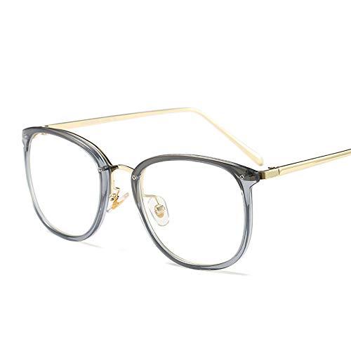 WULE-RYP Polarisierte Sonnenbrille mit UV-Schutz Gold Runde Vintage Brillengestell, Ultraleichte Klare Brillen. Superleichtes Rahmen-Fischen, das Golf fährt (Farbe : Clear/Grey) (Die Besten Halloween Party Rezepte)