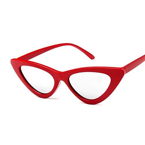 Kleine Cat Eye Damen Sonnenbrille Rot Schwarz Rahmen Frauen Markendesigner Sonnenbrille For Frauen Vintage Sexy Brillen Shades Uv400 (Lenses Color : Red Silver)