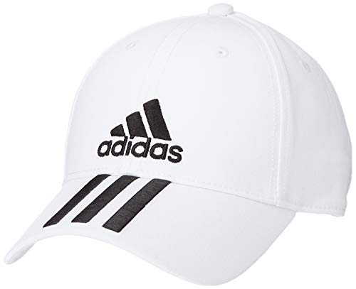 adidas 6P 3S Cap Cotto Hat, White/Black, One Size