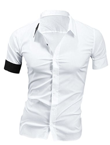 Homme à boutonnière simple bouton de manchettes-Shirt à manches courtes Blanc - Blanc