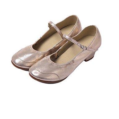 XIAMUO Women's Dance Schuhe Ballett/Latin/Jazz/Dance Sneakers/Modern/Salsa/Hip-Hop/Samba Kunstleder niedrige HeelBlack Silber