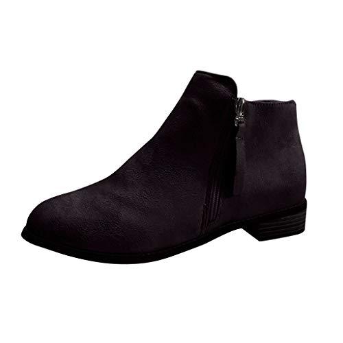 KERULA Stivali Sneakers Invernali Autunno,Unisex Adulto Fashion Eleganti Caviglia Tacco Basso Lato Occidentale Cerniera Punta a Colori Solidi con Scarpe,Stiv
