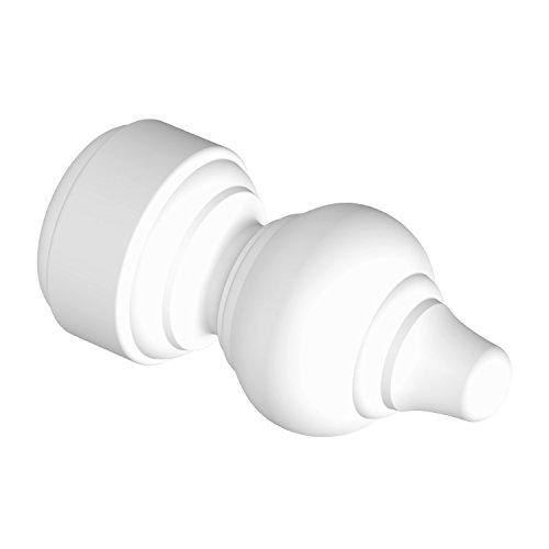 Flairdeco 11012803-0232 Endstücke Rillenform für Gardinenstangen 28 mm Durchmesser, Weiß aus Kunststoff, Packungsinhalt 2 Stück