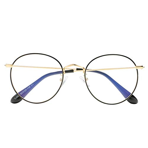 Olprkgdg Anti-Blaue Brille Unisex Brille Retro Metall Brille gefälschte Brille Auge (Color : Black+Gold)
