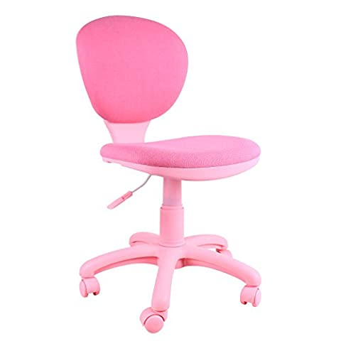 Emall Life Mid-back Desk Chair 360° Adjustable Swivel Office Chair Armless Fabric Task Chair (Pink)