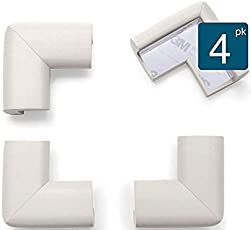 RK's Baby Proofing Corner Guards for Kids – 4 pc White Corner Guards Set – Effective Protection from Sharp Edges – Be it Furniture Or Other Objects – Elegant & Decorative Minimal Design