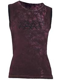 Ärmelloses Girlie Shirt Tribal Heart burgundy schwarz