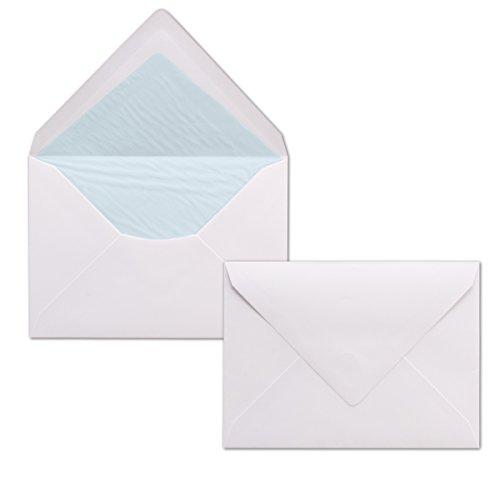 50 Briefumschläge Weiß – DIN C6 – gefüttert mit hellblauem Seidenpapier – 100 g/m² – 114 x 162 mm – Haftklebung – Qualitätsmarke: NEUSER Seta