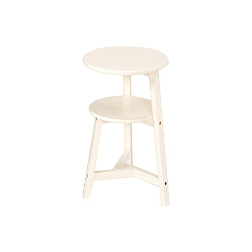 FL- Table d'appoint de salon en bois massif en bois massif (Couleur : Blanc, taille : 60 cm)