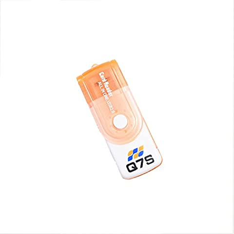 Q7S All in One USB Memory card reader for almost all types of Memory cards (Orange)