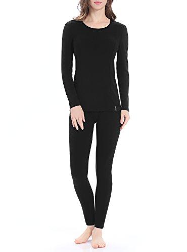 Genuwin Ropa Térmica para Mujer - Camiseta Manga Larga & Pantalones Largos - Ropa Interior Funcional para Invierno - Warm +, 1 Conjunto (XL, Negro)