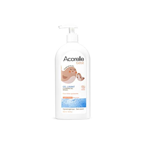 Acorelle Baby- Gel Detergente senza sapone - Ipoallergenico - Con Acqua Termale e Aloe Vera - Deterge e Lenisce la pelle