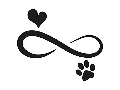 1 x 2 Plott Aufkleber Unendlich Zeichen Liebe Hund Tiere Love Forever Sticker