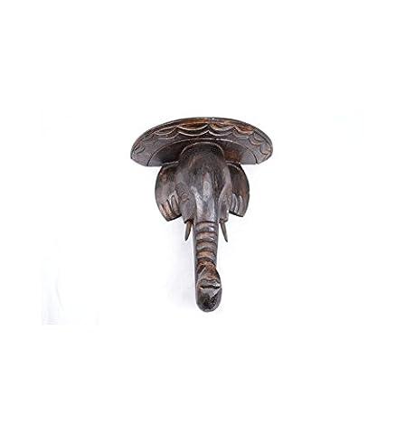 Console murale tête d'éléphant en bois h30cm