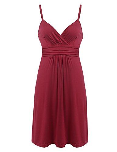 Ekouaer Damen Nachthemd Negligee Nachtkleid Nachtwäsche V-Ausschnitt Lingerie Träger Kleid Sleepwear Rot