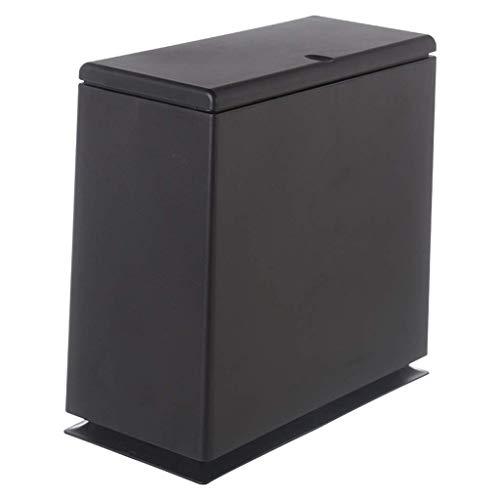 Recycling-kunststoff-square (Giow Mülleimer Kunststoff Push-Typ/Square Haushalt kommt mit Innenfass Lagerung Barrel Klassifizierung Card Slot Design 8L (Farbe: Schwarz))
