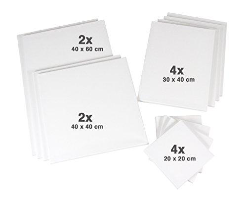 Sparset mit 12 Keilrahmen je 2x 40x40 + 40x60cm, je 4x 20x20 + 30x40cm, 320gr/m² Leinwand, Keilrahmenset