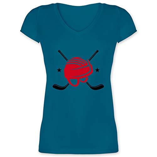 Eishockey - Helm Eishockeyschläger - M - Türkis - XO1525 - Damen T-Shirt mit V-Ausschnitt