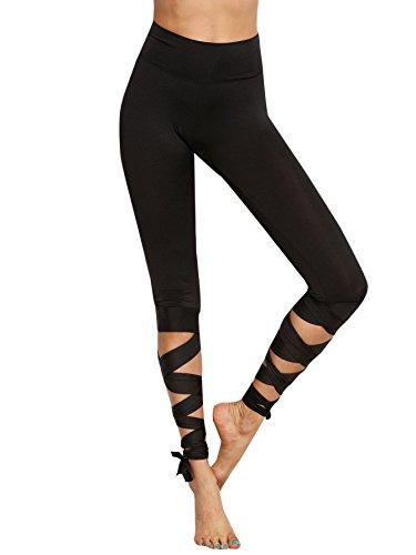 SOLY HUX Femme Pantalon Leggings Moulants avec Lacets Leggings Sculptants Taille Haute Femme Push-Up ficelles Sport Yoga Collant Gainant