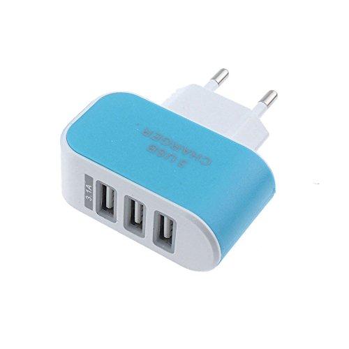 USB Ladegerät,3.1A USB Netzteil, AC 3 Port Handy Ladekopf,EU Stecker Wandladegerät für Smartphones, Samsung Galaxy, HTC, Huawei, LG G5, Nexus, Nokia,iPhone (Blau)
