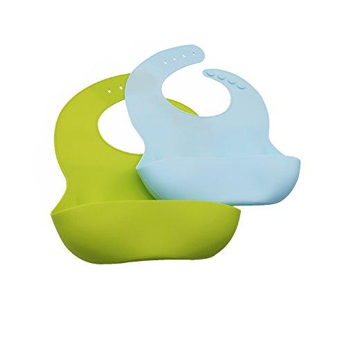 zchen für Babys, mit Lebensmitteln cathcher, Baby Lätzchen Wasserdicht für Jungen, weiches Silikon, limettengrün/türkis, 2Stück (Baby-trivia)