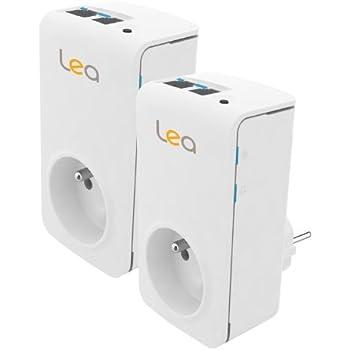 LEA NetSocket 200+ Nano Pack Duo Adaptateur CPL 200 Mbps 2 prises Ethernet