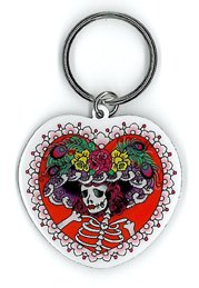 Sunny Buick - Iconic Take on, Day of the Dead Lady Skull with a Hat, High Quality Die-Cut Metal Portachiavi Keychain