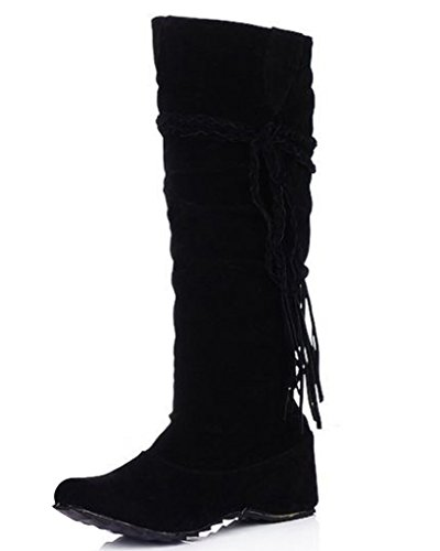 Minetom Herbst Und Winter Frauen Hohe Stiefel Mattoberflächen Höhe Erhöhen Schuhe Mit Quaste Rüschedekoration Schwarz 39 (Hoch Vintage-knie Stiefel)