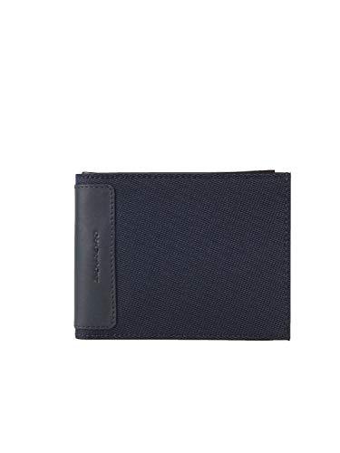 Piquadro Portafoglio Uomo con 12 porta carte in Tessuto e Pelle, Blu, PU1241S100