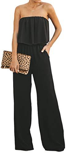 Longwu Damen Sexy Trägerloser Strapless Rüschen Wrapped Chest Off Shoulder Maxi Wide Leg Jumpsuit mit Taschen - Schwarz - 38/40 Junior Strapless Kleider