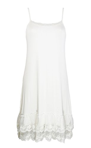 CICERO Miss Rouge : Fond de Robe à Bretelle en Viscose et Dentelle, Bleu, Ecru, Noir, Gris,Rouge, Ecru, Taille unique