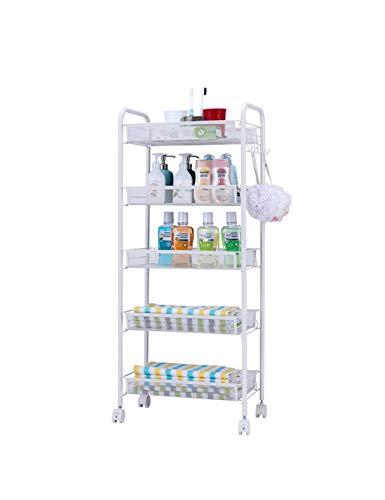 XINGZHE Kitchen Storage Rack Einfaches Rack-Finishing-Rack Fünfstöckiges Wohnzimmer-Storage-Rack Landing Cart Universal-Radkonfiguration Küchenwagen -