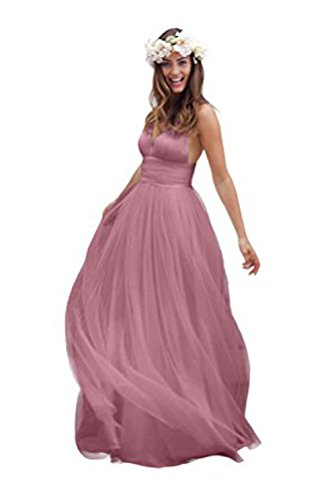 Vickyben Damen 2017 Spaghetti Rueschen Empire Taille Rueckenfrei Strand KLeid Brautkleid Abendkleider Ballkleid Brautjungfernkleid Party kleid lang Cameo Brown