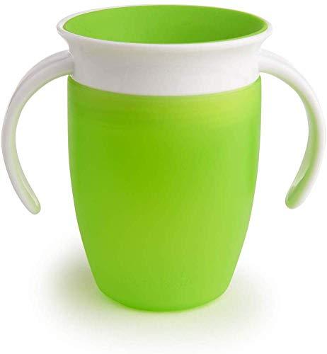 Munchkin Miracle 360° - Vaso de entrenamiento antiderrames con asas, verde, 207 ml