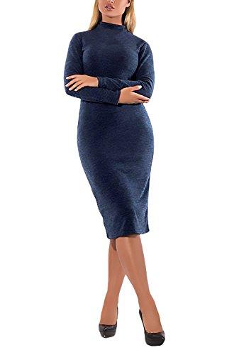 Vestiti Donna Eleganti Da Cerimonia Da Sera Abiti Vintage Moda Giovane Con Manica Lunga Collo Alto Tubino Al Ginocchio Matita Abito Vestito De Cocktail Festa Vestitini Taglie Forti Blu scuro