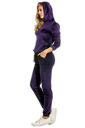 Unibelle Ensemble de Survêtement Jogging Velours Capuche Manches Longues Femme Violet Fonce