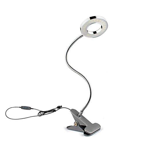 Wefond Dimmbare 5W LED USB Stecker Clip auf Licht Flexible Schwanenhals Leselampe für Laptop, Buch, Klavier, Bett Kopfteil, Schreibtisch, 3 Lichtfarben, 10 Helligkeitsstufen (Silber)