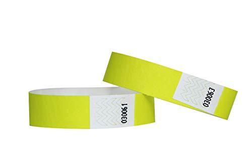 Confezione di 100braccialetti in carta Tyvek, 19mm, per eventi, festival,indistruttibili e personalizzabili,12colori disponibili 19mm giallo fluo