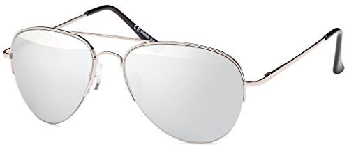 Sonnenbrille verspiegelt Pilotenbrille mit flexiblen Federbügeln für breitere bis normale Köpfe...
