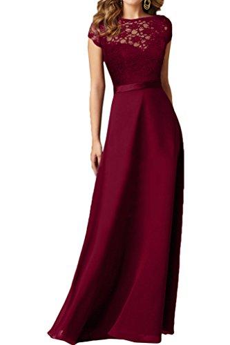 Ivydressing Damen Hochwertig Schleifer Rueckenfrei Chiffon&Spitze Partykleid Promkleid Festkleid Abendkleid Weinrot