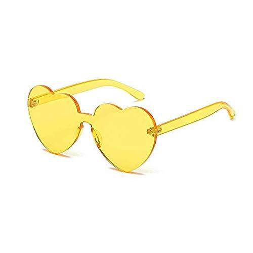 Lorigun Herzform Sonnenbrille Party Sonnenbrille Transparent Candy Farbe Rahmenlose Randlose Brille Getönte Brillen für Party Cosplay (Gelb)