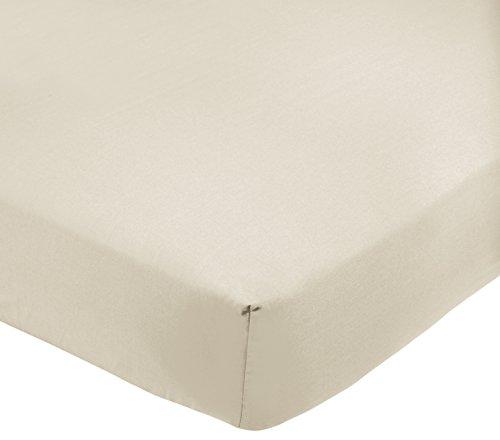 AmazonBasics Drap-housse en polycoton 200fils Crème 160 x 200 x 30 cm