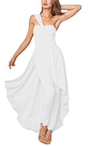 SPec4Y Damen Kleid Sexy Rückenfrei Cocktailkleid Eine Schulter Partykleid Festlich Schlauchoberteil Sommerkleider Abendkleid mit Hose Weiß M